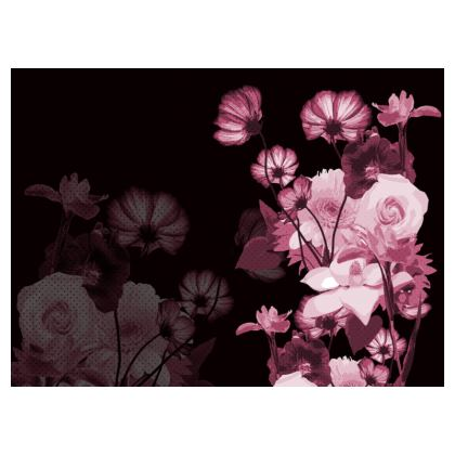 Leather Printed Floral Bag - Pinks on Black