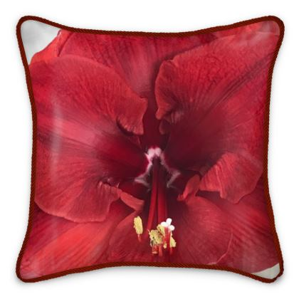 Silk Pillows - Rich Red Amaryllis