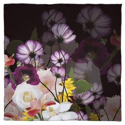 Scarf - Floral design on Black