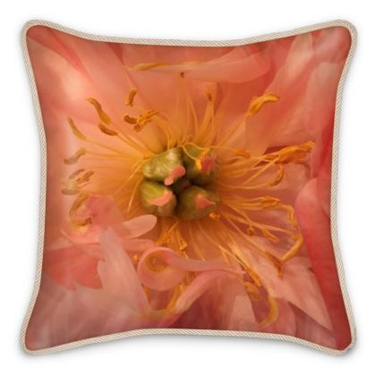Silk Pillows - Peach Peony