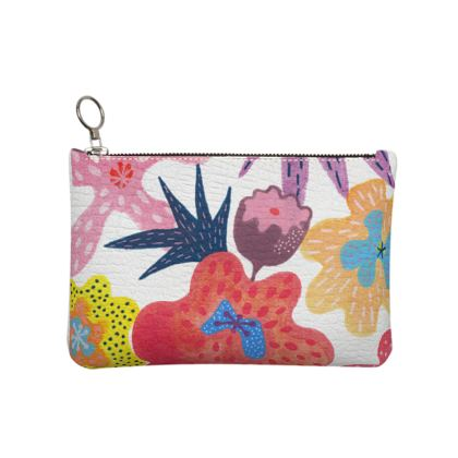 Leather Clutch bag Berrylicious hand painted floral abstract