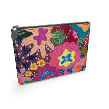 Leather Pouch Secret Garden hand painted floral abstract