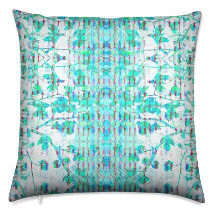 Teal Sky Branch Luxury Cushion