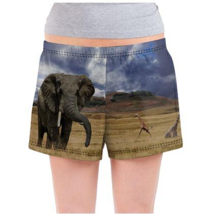 Ladies Pyjama Shorts - Savannah Wildlife