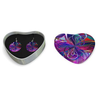 Sterling Silver Earrings Purple Flower