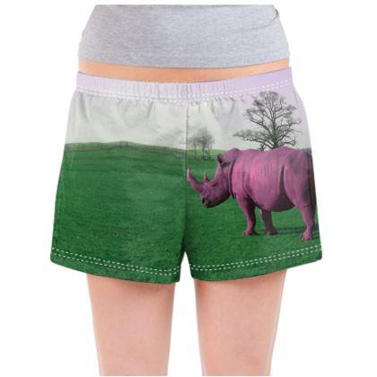 Ladies Pyjama Shorts - Pink Rhino