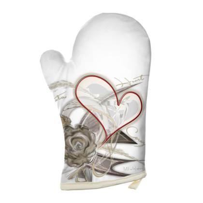 Oven Glove - Grytvante - Brown Heart Flower white