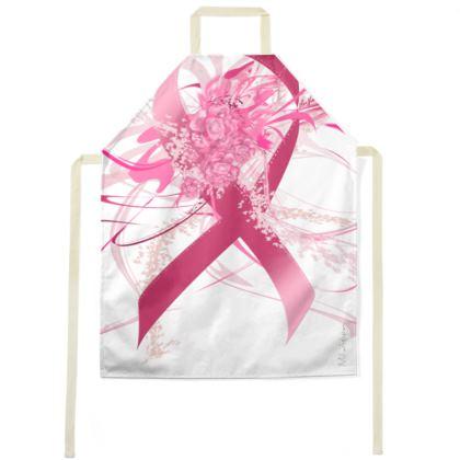 Apron - Förkläde - Pink flower ribbon white