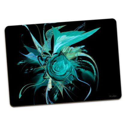 Large Placemats - Stora bordstabletter - Turquoise Black