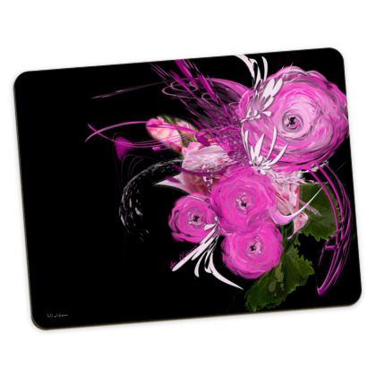 Placemats Medium - Bordstabletter Medium - Pink Summer Fantasy Black