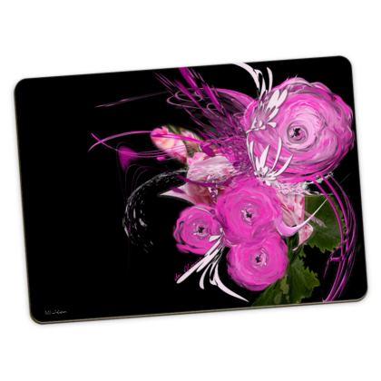 Large Placemats - Stora bordstabletter - Pink Summer Fantasy Black