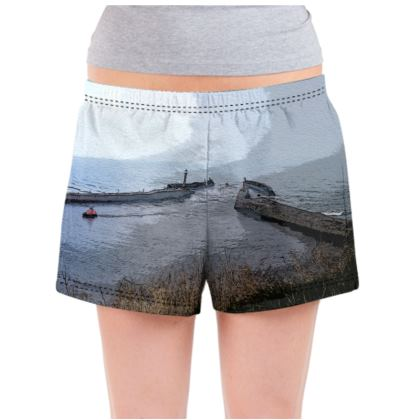 Ladies Pyjama Shorts - Whitby Sea