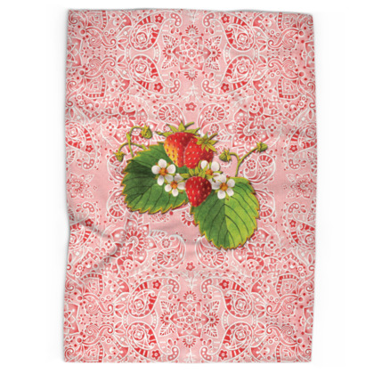Pink Paisley Strawberry Tea Towels