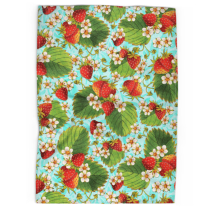 Strawberries on Aqua Tea Towels