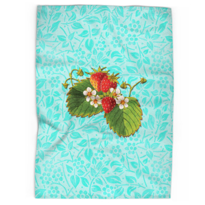 Aqua Strawberries Tea Towels