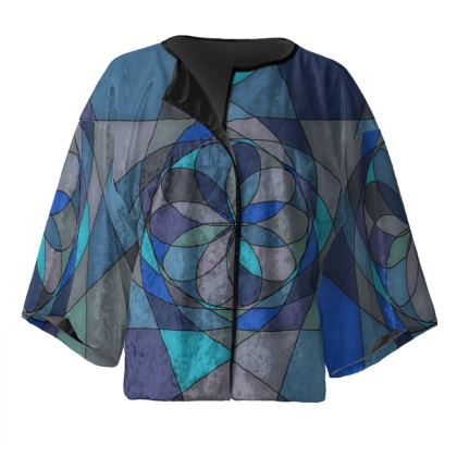 Kimono Jacket - Blue spiral