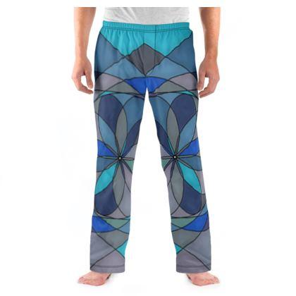 Men's Pyjama Bottoms - Blue spiral