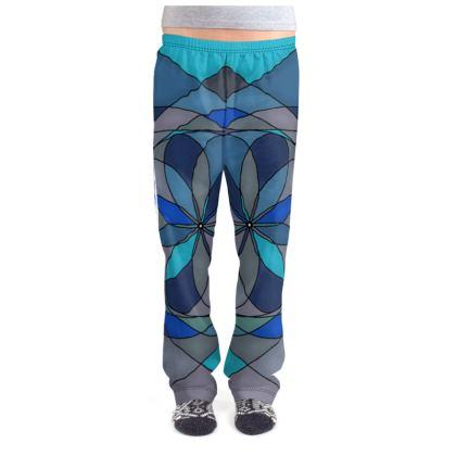 Ladies Pyjama Bottoms - Blue spiral