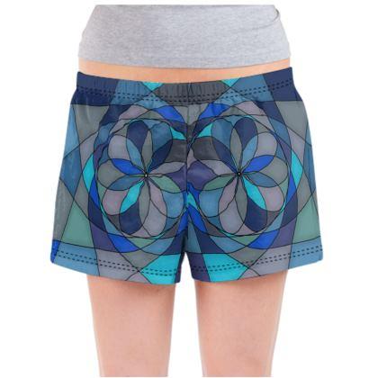 Ladies Pyjama Shorts - Blue spiral