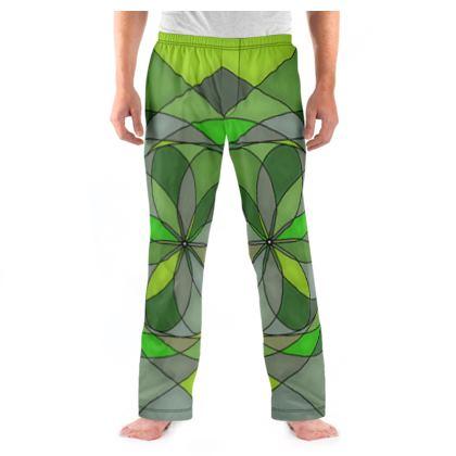 Men's Pyjama Bottoms - Green spiral