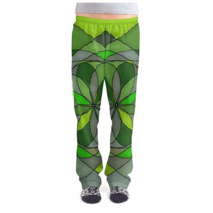 Ladies Pyjama Bottoms - Green spiral