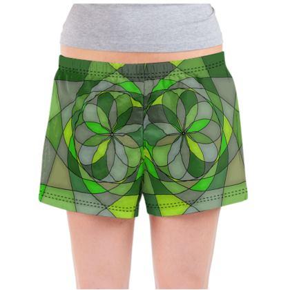 Ladies Pyjama Shorts - Green spiral