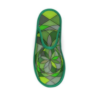 Slippers - Green spiral