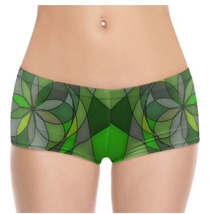 Hot Pants - Green spiral