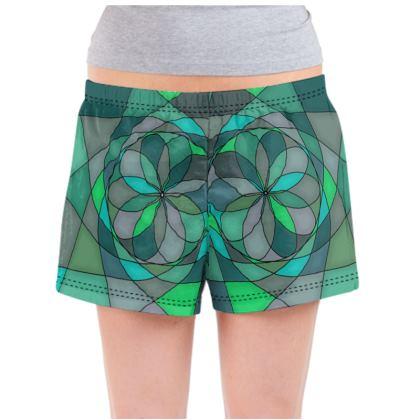 Ladies Pyjama Shorts - Jade spiral