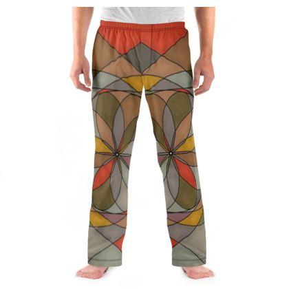 Men's Pyjama Bottoms - Orange spiral