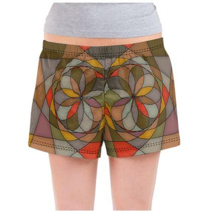 Ladies Pyjama Shorts - Orange spiral