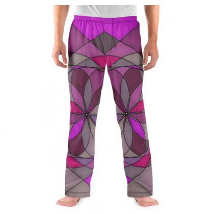 Men's Pyjama Bottoms - Pink spiral