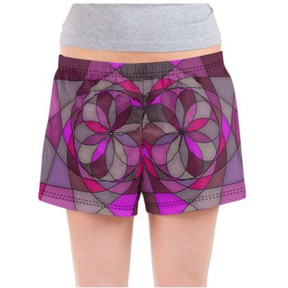 Ladies Pyjama Shorts - Pink spiral