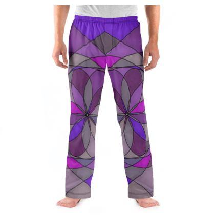 Men's Pyjama Bottoms - Purple spiral