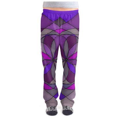 Ladies Pyjama Bottoms - Purple spiral