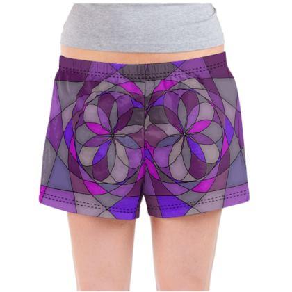 Ladies Pyjama Shorts - Purple spiral