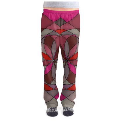 Ladies Pyjama Bottoms - Red spiral