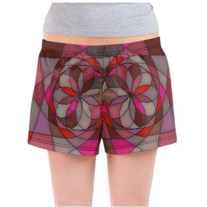 Ladies Pyjama Shorts - Red spiral