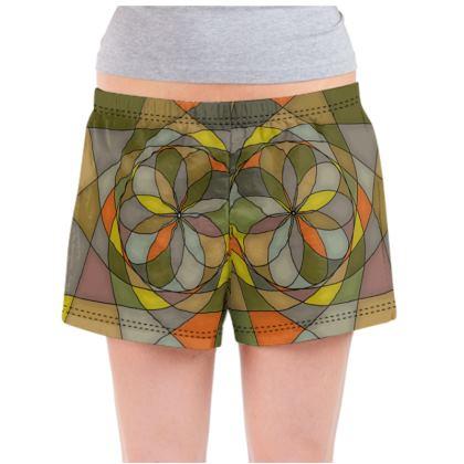 Ladies Pyjama Shorts - Yellow Spiral
