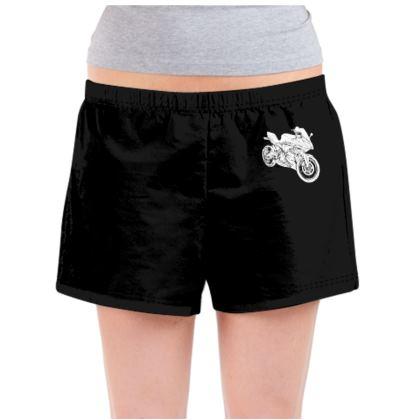 Ladies Pyjama Shorts - Superbike Sketch