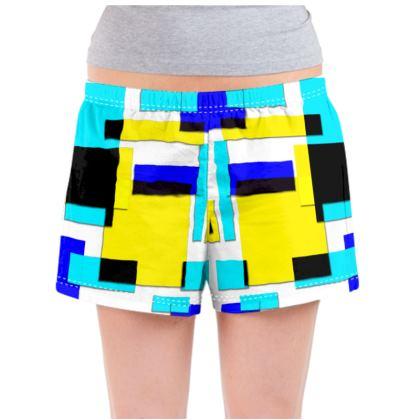 Ladies Pyjama Shorts - Bright Squares