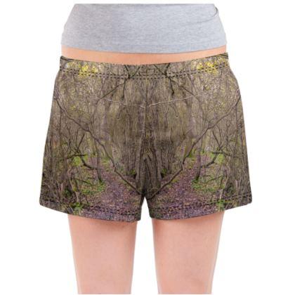 Ladies Pyjama Shorts - Trail in the Woods