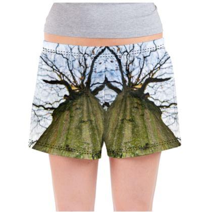 Ladies Pyjama Shorts - Vertical Tree