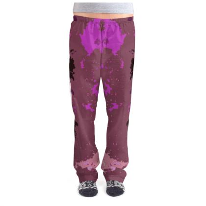 Ladies Pyjama Bottoms - Pink Ion Storm Abstract
