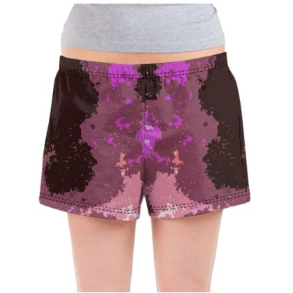 Ladies Pyjama Shorts - Pink Ion Storm Abstract