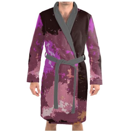 Dressing Gown - Pink Ion Storm Abstract