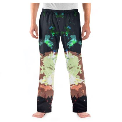 Men's Pyjama Bottoms - Green Flame Creature Abstract