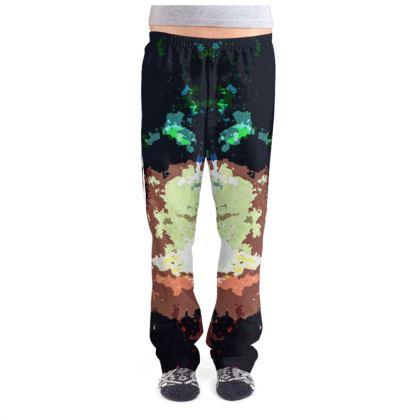 Ladies Pyjama Bottoms - Green Flame Creature Abstract