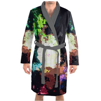 Dressing Gown - Green Flame Creature Abstract