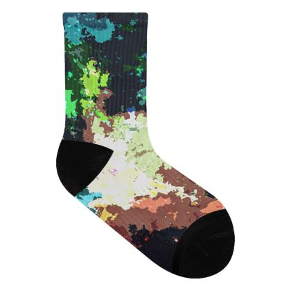 Socks - Green Flame Creature Abstract